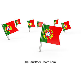 Square pins with flag of portugal