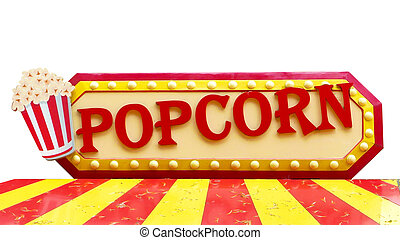Colorful popcorn sign with lighting border on white...