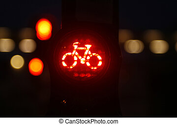 Red bicycle traffic light - Red traffic light with bicycle...