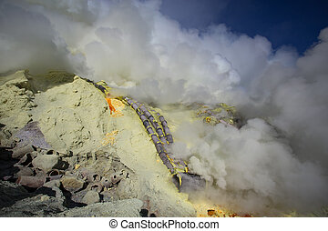 Sulfur mine Inside crater of Ijen volcano, East Java,...