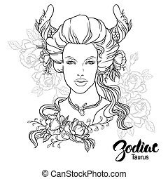 Zodiac. Vector illustration of Taurus as girl with flowers....