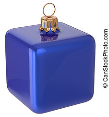 Christmas ball cube geometric New Year's Eve bauble blue
