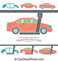 Production line of cars Color print on white background