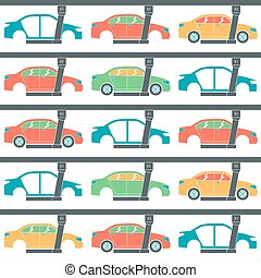 Production line of cars Seamless pattern Color print on...