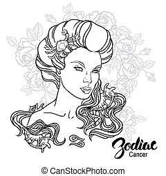 Zodiac. Vector illustration of Cancer as girl with flowers....