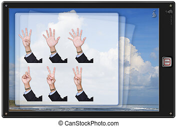 Pad tablet w finger counting app - Caricature of pad tablet...