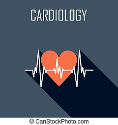 Cardiology. Flat icon. Vector illustration