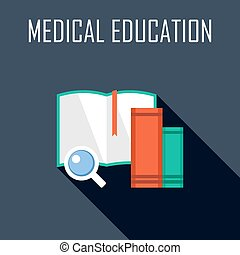 Medical education Flat icon Vector illustration