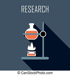 Research Flat icon Vector illustration