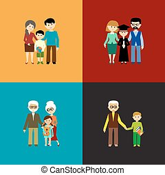 Flat set of family life Vector illustration