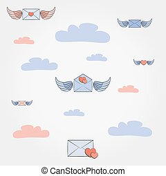 Envelopes with wings and hearts in the clouds.