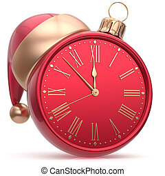 New Years Eve clock Christmas ball Santa hat decoration red...