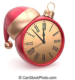 New Years Eve clock bauble Santa hat Christmas ball time -...