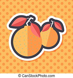 Chinese New Year Mandarin Oranges flat icon wtih long...
