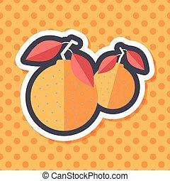Chinese New Year Mandarin Oranges flat icon wtih long...