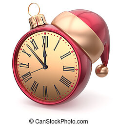 Happy New Year clock bauble Christmas ball Santa hat time