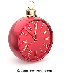 Christmas ball midnight clock decoration Happy New Year time...