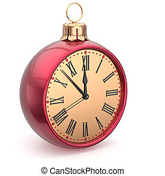 Happy New Year time Christmas ball midnight clock decoration...
