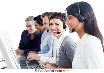 Positive business people using headset