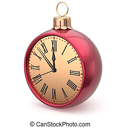 New Years Eve time Christmas ball midnight clock decoration...
