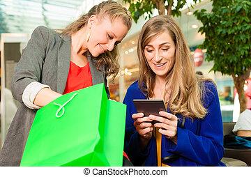 袋子, 購物中心, 購物, 二, 婦女