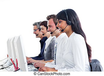Concentrated customer service representatives with headset on