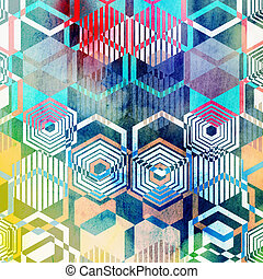 geometric ornament polygons - Seamless graphic pattern of...
