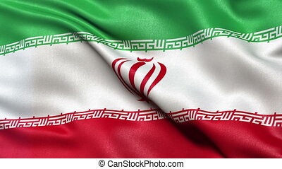Iran flag seamless loop - Realistic flag of Iran waving in...
