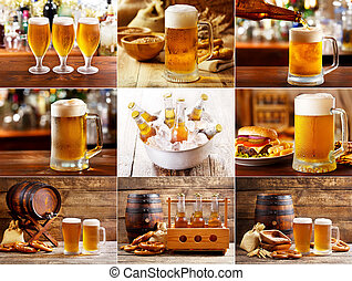 beer glasses collage - beer collage with various glasses and...