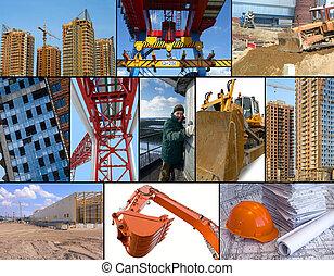 construcción, sitio, collage