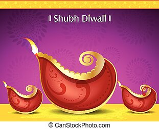 happy diwali deepak background with floral vector...
