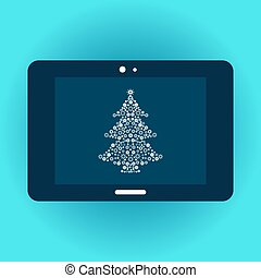 Christmas tree on tablet screen