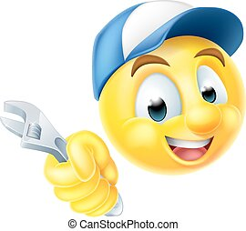 Plumber Mechanic Emoticon Emoji with Spanner - A cartoon...