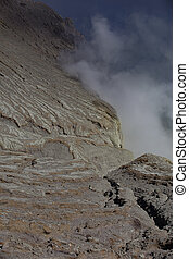 Detail from Kawah Ijen volcano and crater ,Indonesia