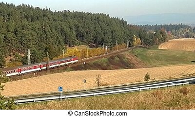 Passenger train in the country.