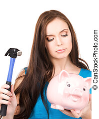 teenage girl with piggy bank and hammer - lovely teenage...