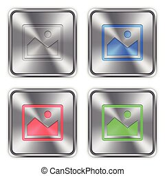 Color image steel buttons - Color image icons engraved in...