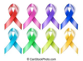 Colorful awareness ribbons - Set of colorful awareness...
