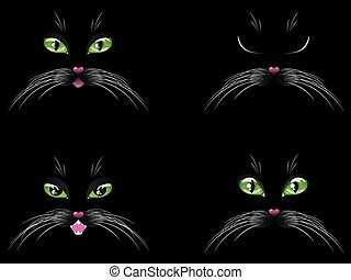 Black Cat Face with Green Eyes