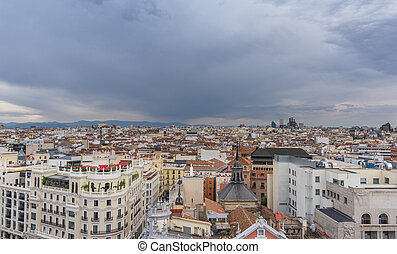 Skyline of Madrid in a cloudy day - Panoramic skyline of...