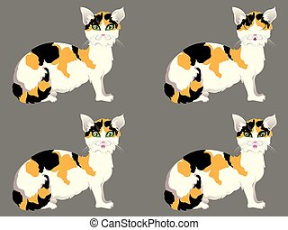 Tortoiseshell Cat with Green Eyes - Cute cartoon...