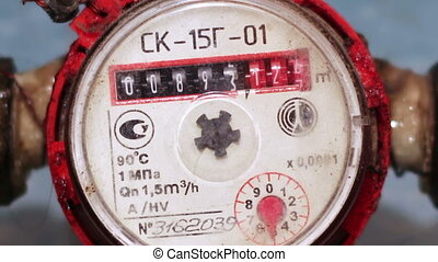 Water meter - Counter hot water mounted on a water pipe in...