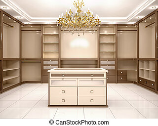 3d illustration of Big empty walk in wardrobe in luxurious...