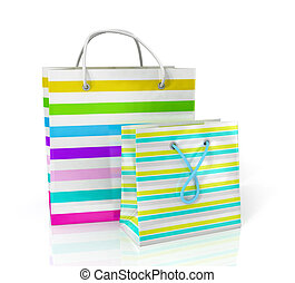 Colorful paper bags for shopping on a white background