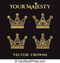 Ornamental Crowns - Vintage ornamental crowns set. Vector...