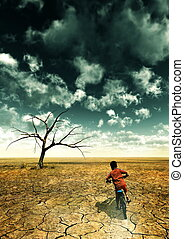 Global Warming - A global warming illustration with a boy...