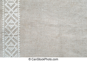 Background of the homespun cloth with white embroidery - The...