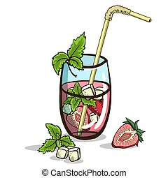 Isolated Strawberry Mojito - Hand drawn cocktail - mojito...