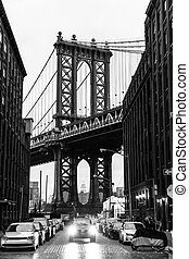 Manhattan Bridge, New York City, USA - Manhattan Bridge as...