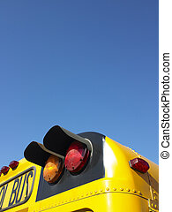 Lights on School Bus - Cropped rear view of a school bus....